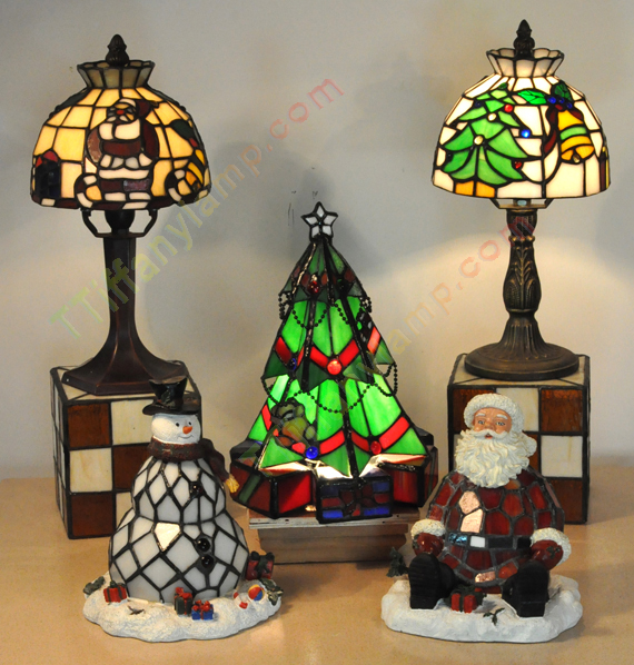 Christmas Tiffany Accent Lamps Set Of Five Christmas